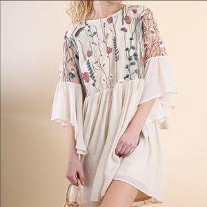 umgee embroidered angel sleeve boho mini dress
